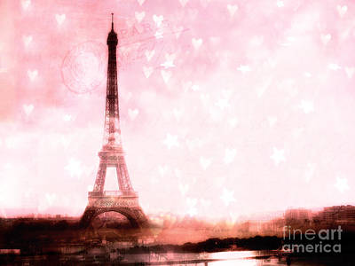 Paris Pink Eiffel Tower With Hearts And Stars - Paris Romantic Dreamy Pink Photographs Poster by Kathy Fornal