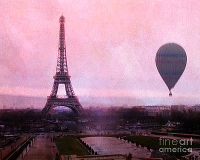 Paris Pink Eiffel Tower With Hot Air Balloon - Paris Eiffel Tower Romantic Pink Art Deco Poster by Kathy Fornal