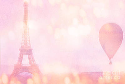 Paris Dreamy Pink Eiffel Tower With Pink Hot Air Balloon - Paris And Balloons Poster by Kathy Fornal