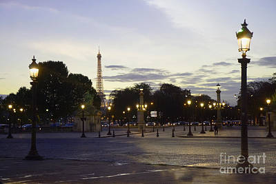 Paris Place De La Concorde Evening Sunset Lights With Eiffel Tower - Paris Night Lights Eiffel Tower Poster by Kathy Fornal