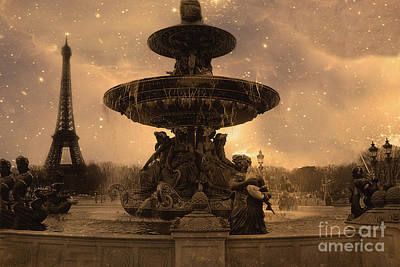 Paris Place De La Concorde Fountain Square - Paris Fountain And Eiffel Tower Sepia Starry Night  Poster by Kathy Fornal