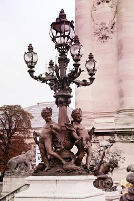 Paris Pont Alexandre Bridge Cherubs And Lanterns Architecture - Paris Romantic Ornate Bridge Lamps  Poster by Kathy Fornal