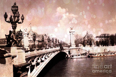 Paris Pont Alexandre IIi Bridge Over The Seine - Paris Romantic Bridge Sculptures And Ornate Lamps  Poster by Kathy Fornal