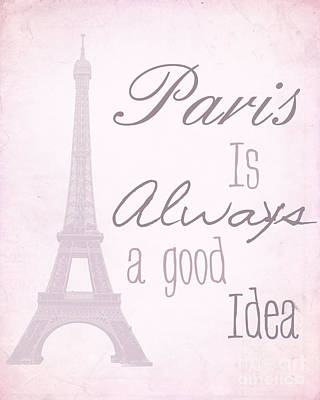 Paris Quote Purple Poster by Pati Photography