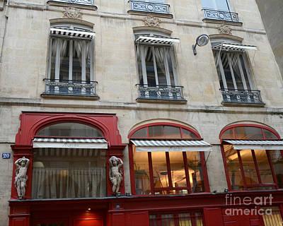 Paris Red Cafe Photo - Paris Sidewalk Cafe Architecture - Paris Red Cafes Pubs - Paris Art Nouveau  Poster by Kathy Fornal