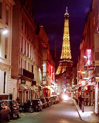 Paris Romantic Night Lights Poster