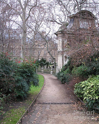 Paris Romantic Parks - Luxembourg Gardens - Medici Fountain Park - Pathway To Luxembourg Gardens Poster by Kathy Fornal
