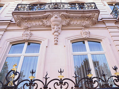 Paris Romantic Windows Balcony Architecture - Paris Art Nouveau Pink Black Ornate Window Balcony Art Poster by Kathy Fornal