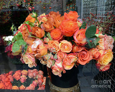 Paris Roses Autumn Fall Peach Orange Roses - Paris Roses Flower Market Shop Window Poster by Kathy Fornal