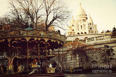 Paris Sacre Coeur Carousel Merry Go Round - Paris Autumn Fall Carousel Sacre Coeur Cathedral Poster by Kathy Fornal