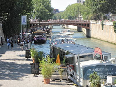 Poster featuring the photograph Paris - Seine Scene by HEVi FineArt