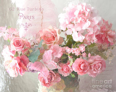 Paris Shabby Chic Dreamy Pink Peach Impressionistic Romantic Cottage Chic Paris Flower Photography Poster