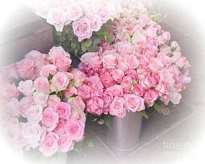 Paris Shabby Chic Dreamy Pink Roses - Paris Flower Shoppe - Paris French Flower Market Pink Roses Poster by Kathy Fornal
