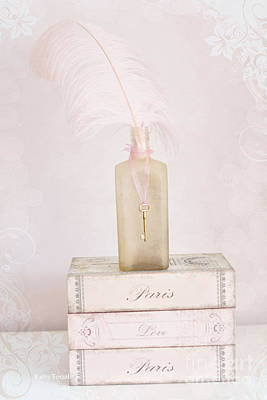 Paris Shabby Chic Romantic Dreamy Paris Pink Books - Vintage Bottle And Key Art Print Poster