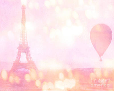 Paris Shabby Chic Romantic Dreamy Pink Eiffel Tower With Hot Air Balloon Poster by Kathy Fornal