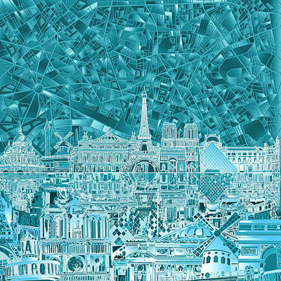 Paris Skyline Abstract Blue Poster