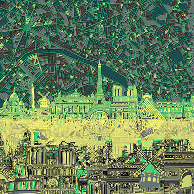 Paris Skyline Abstract Green Poster