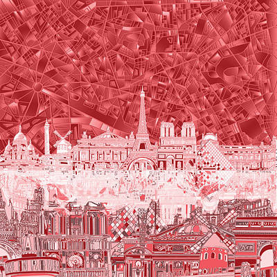 Paris Skyline Abstract Red  Poster