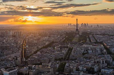 Paris Skyline Poster by Nattee Chalermtiragool