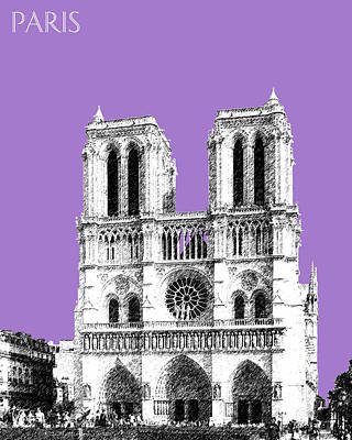 Paris Skyline Notre Dame Cathedral - Violet Poster by DB Artist