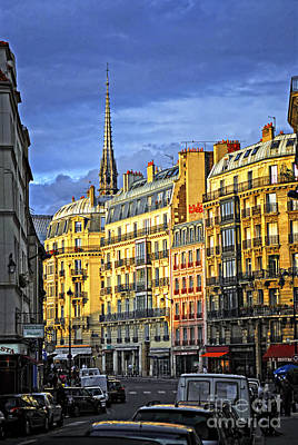 Paris Street At Sunset Poster
