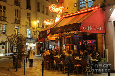 Paris Street Cafe At Night Poster