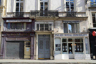 Paris Street Scenes - Paris Palais Royal Architecture Buildings - Paris Door Windows And Balconies Poster by Kathy Fornal
