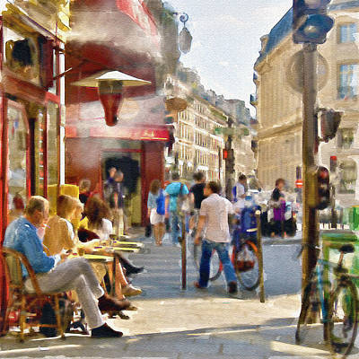 Paris Streetscape Watercolor Poster