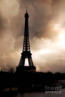 Paris Surreal Dreamy Eiffel Tower Sepia Print With Storm Clouds Poster by Kathy Fornal