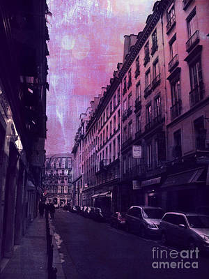 Paris Surreal Street Photography - Paris Fantasy Purple Street Scene  Poster by Kathy Fornal