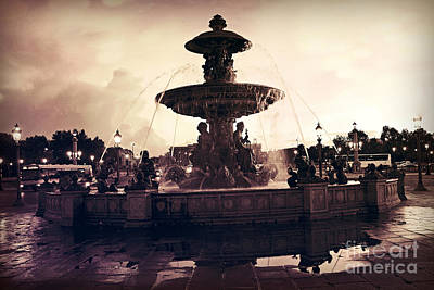 Paris Surreal Place De La Concorde Fountain - Paris Sunset Sepia Night Lights Fountain Square Poster by Kathy Fornal