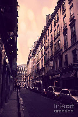 Paris Surreal Street Photography - Dreamy Paris Street Scene With Pink Sky Sunset  Poster by Kathy Fornal