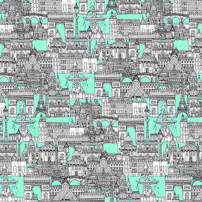 Paris Toile Aquamarine Poster by Sharon Turner