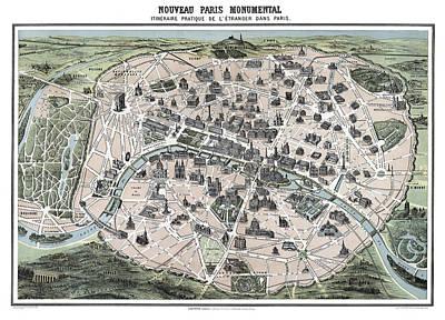 Paris Tourist Map 1878 Poster by Daniel Hagerman
