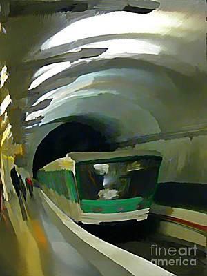 Paris Train In Fisheye Perspective Poster by John Malone