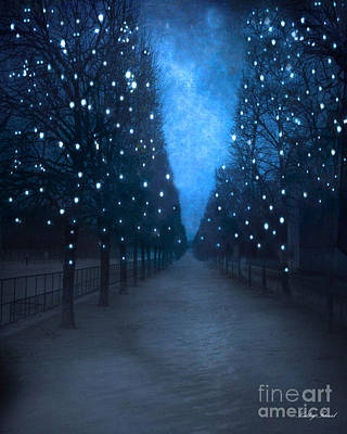 Paris Tuileries Trees - Blue Surreal Fantasy Sparkling Trees - Paris Tuileries Park Poster by Kathy Fornal