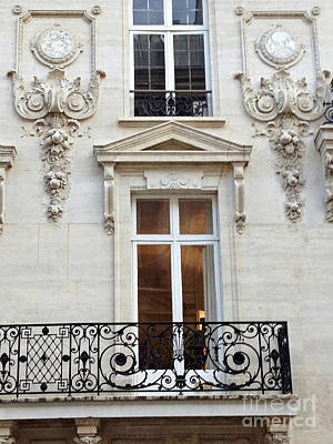 Paris Windows Lace Balconies Art Nouveau - Romantic Paris Window Balcony Architecture Art Deco Poster by Kathy Fornal