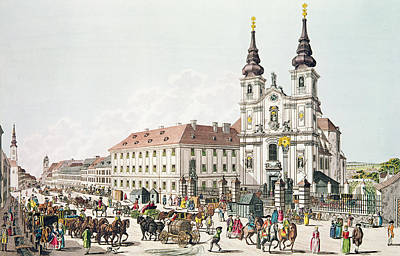 Parish Church And Convent Of Mariahilf, Vienna, 1783 Engraving Poster by Johann Ziegler