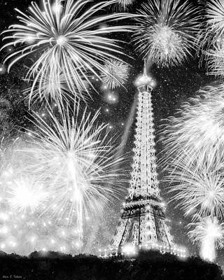 Parisian Fireworks Over The Eiffel Tower Poster by Mark E Tisdale