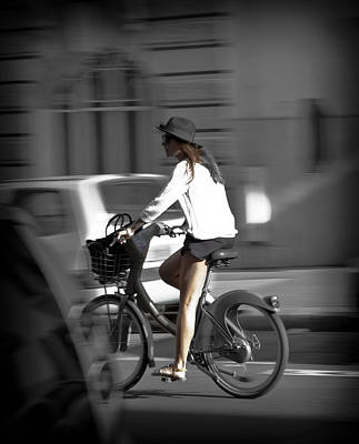 Parisian Girl Cyclist Poster