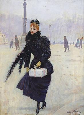 Parisian Woman In The Place De La Concorde, C.1890 Oil On Canvas Poster by Jean Beraud
