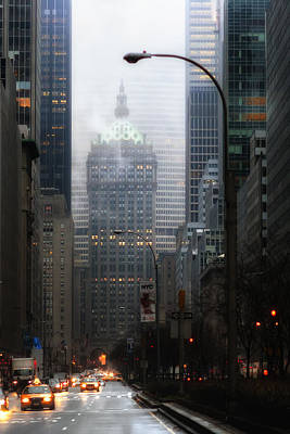 Park Avenue Dawn In Color Poster by Dave Beckerman