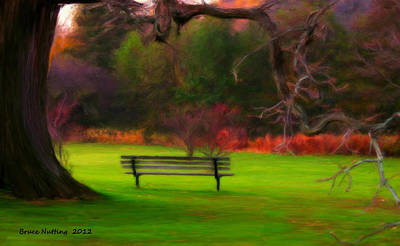 Poster featuring the painting Park Bench by Bruce Nutting