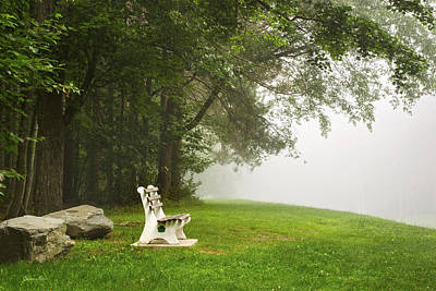 Park Bench Under A Tree In The Morning Fog Poster by Christina Rollo