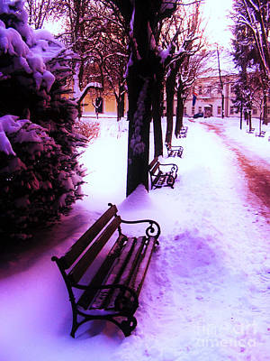 Park Benches In Snow Poster by Nina Ficur Feenan