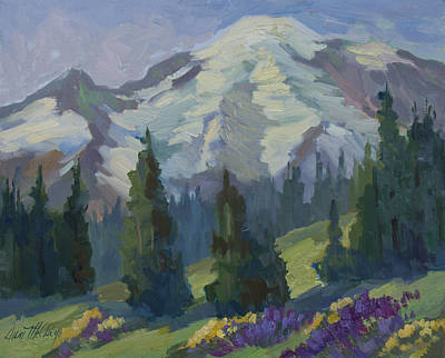 Park Sunrise At Mount Rainier Poster by Diane McClary