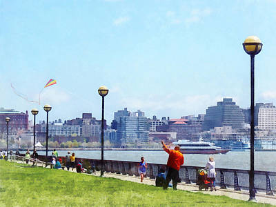 Parks - Flying A Kite At Pier A Park Hoboken Nj Poster by Susan Savad