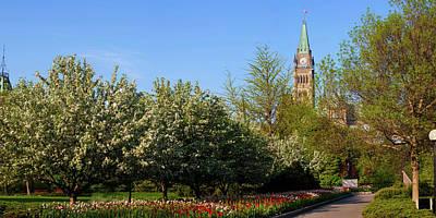 Parliament Building Seen From A Garden Poster