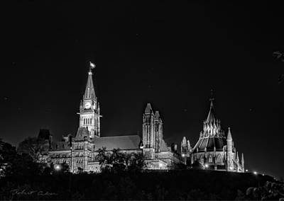 Poster featuring the photograph Parliament From The Park - Bw by Robert Culver