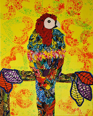Poster featuring the tapestry - textile Parrot Oshun by Apanaki Temitayo M